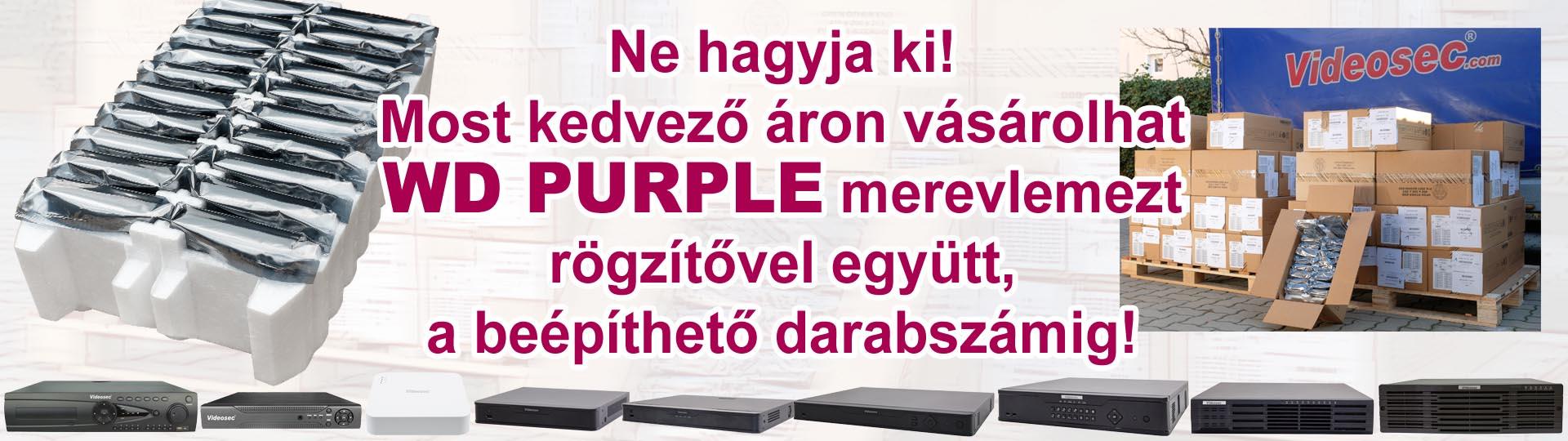 Ne hagyja ki! Most kedvező áron vásárolhat WD PURPLE merevlemezt rögzítővel együtt, a beépíthető darabszámig!